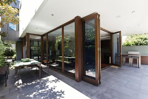 brown bi folding doors