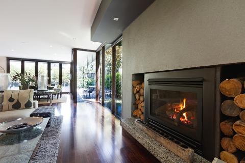 bi folding doors and fireplace