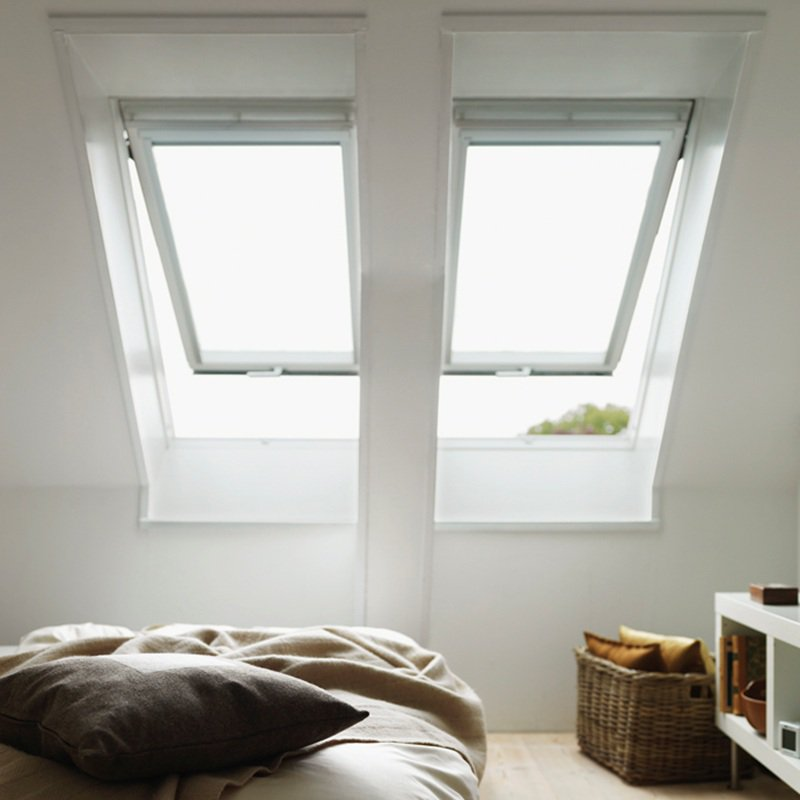 Velux top hung polyurethane roof window white finish for How to clean velux skylights